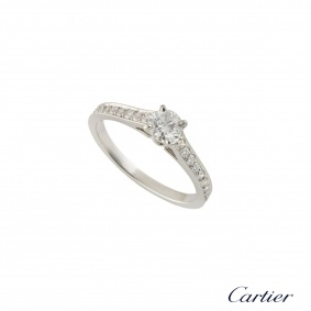 Cartier Platinum Diamond 1895 Solitaire Ring Size 49 N4164649